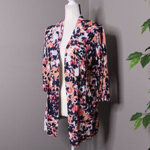 Laura Ashley Open Front Floral Cardigan Ribbed